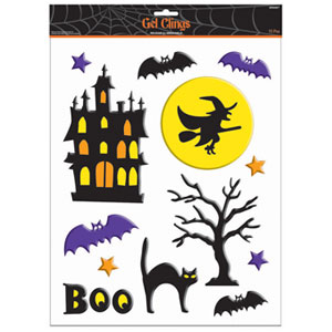 Haunted House Large Gel Clings- 15ct