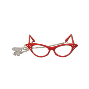 Jeweled Crystal Teardrop Glasses - Red