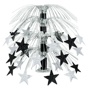 Black and Silver Cascade Centerpiece - 18in