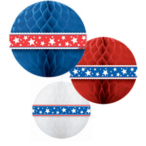Assorted Patriotic Honeycomb Balls -3 ct