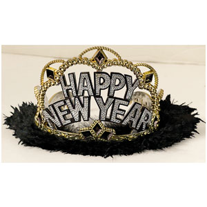 Midnight Celebration Tiara Electroplated with Marabou- 4 Inch