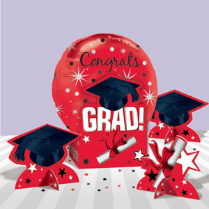 Graduation Red Balloon Centerpiece- 5pc