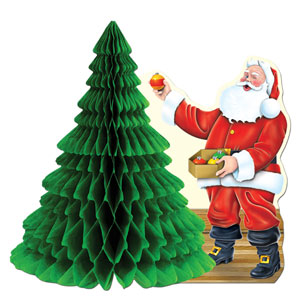 Santa with Tissue Tree Centerpiece - 11in