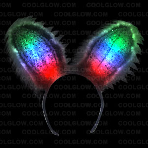 Fun Central G243 LED Light Up Bunny Ears Premium - Black