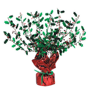Holly and Berry Gleam 'n Burst Centerpiece - 15in