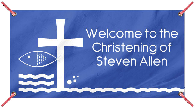 Blue Fish and Cross - Custom Banner