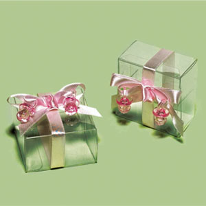 Clear Decorated Favor Boxes - Pink