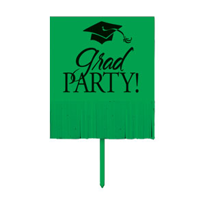 Grad Fringe Yard Sign - Green