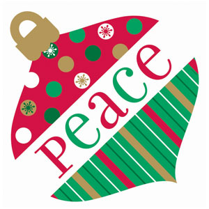 Holiday Colors Peace Ornament Cutout- 12 Inch