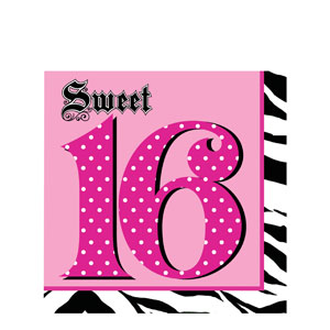 Super Sylish 16th Birthday Napkins