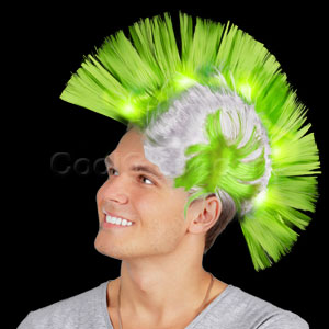 Fun Central AD153 LED Light Up Mohawk Wig - Green