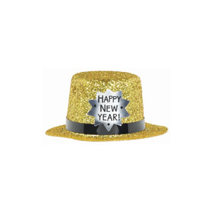 New Years Mini Glitter Top Hat- Gold 2 Inch