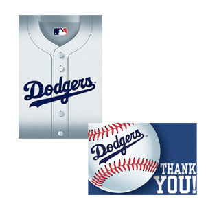Los Angeles Dodgers Invitations and Thank You Cards- 16ct