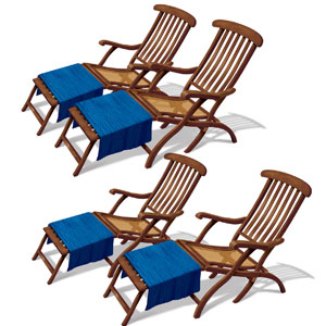 Cruise Ship Deck Chair Props- 4ct