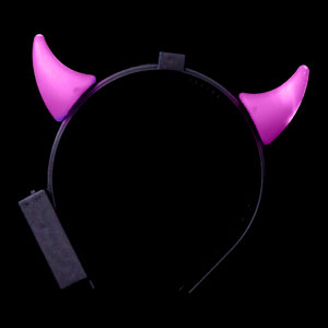 LED Devil Horns Headband - Pink