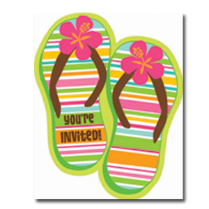 Beach Flip Flops Invitations- 50ct