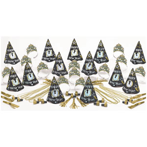 Black, Gold & Silver New Years Party Kit for 25- 63pc