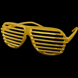 Metallic Gold Shutter Slotted Shades