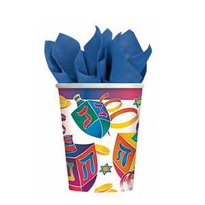 Watercolor Dreidels 9 oz. Cups