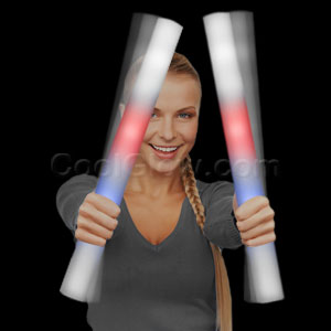 Fun Central O562 LED Light Up Foam Stick Baton Premium - Red-White-Blue