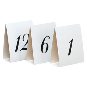 Wedding Table Cards 1 to 12- 12ct
