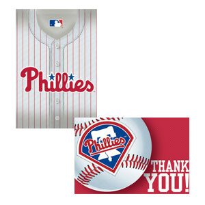 Philadelphia Phillies Invitations and Thank You Cards Set- 16ct