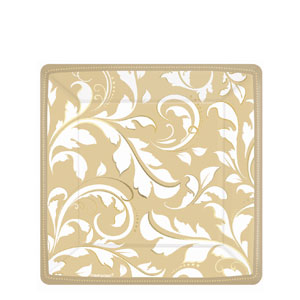 Gold Elegant Scroll 7 Inch Square Metallic Plates- 8ct
