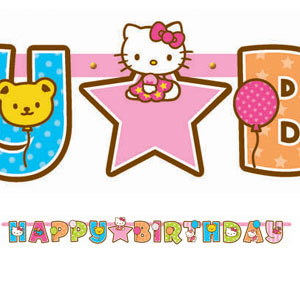 Hello Kitty Balloon Dreams Add-An-Age Letter Banner- 10ft