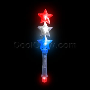 LED Triple Star Wand - Red-White-Blue