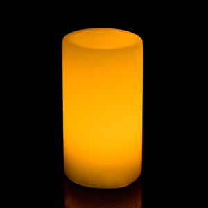 5 Inch Flameless Pillar Candle with Timer - Smooth Edge - Yellow