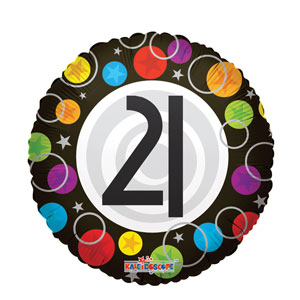 21st Happy Birthday Dots Balloon- 18in