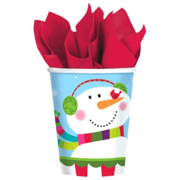 Joyful Snowman Paper Cups 9 oz