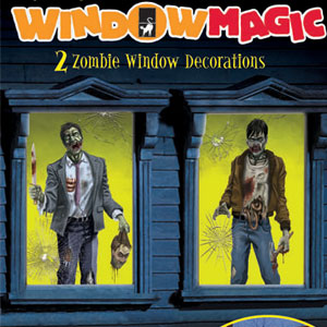 Glow Zombie Window Decor- 2pc