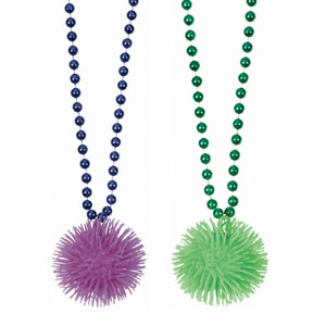16 Inch Mardi Gras Puffer Ball Necklaces - 2ct