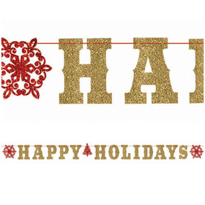 Gold Happy Holidays Glitter Letter Banner- 12ft