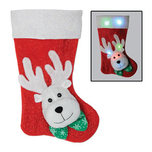 Light Up Reindeer Stocking - 19in