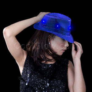 LED Sequin Fedora - Blue