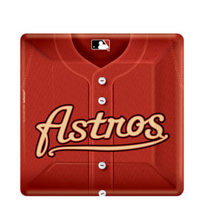 Houston Astros Square 10 Inch Plates- 18ct