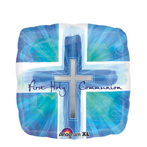 Joyous Communion Cross Blue Balloon- 18in