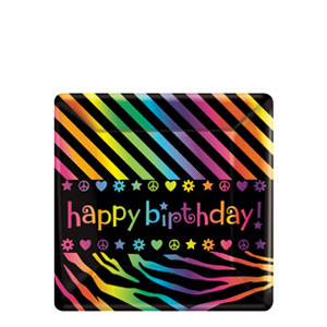 Neon Birthday 7 Inch Square Plates- 8ct