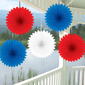 Assorted 6 Inch Patriotic Paper Fans- 5ct