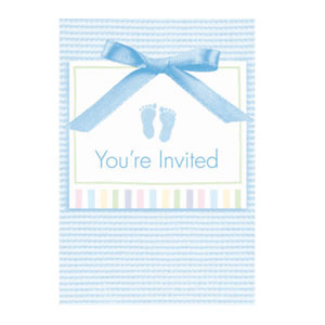 Baby Soft Blue Invitations - 8ct