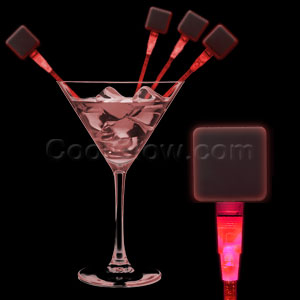 LED Square Cocktail Stirrers - Red