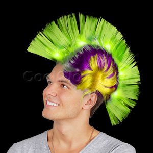 LED Mohawk Wig - Green Yellow and Purple