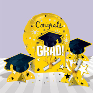Graduation Yellow Balloon Centerpiece- 5pc