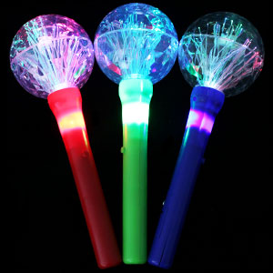 LED Fiber Optic Globe Wands - Assorted