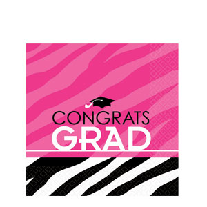 Zebra Party Grad Luncheon Napkins- 16ct