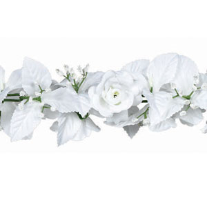 White Rose and Leaf Garland- 6ft