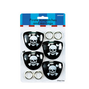 Pirate Eye Patch and Earring Favors - 8pc