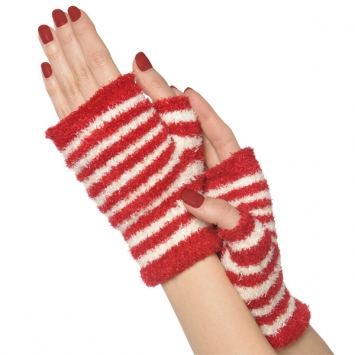 Candy Stripe Fuzzy Glovelettes
